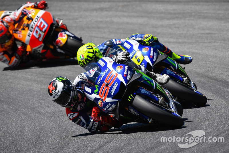Jorge Lorenzo, Yamaha Factory Racing, Valentino Rossi, Yamaha Factory Racing and Marc Marquez, Repsol Honda Team