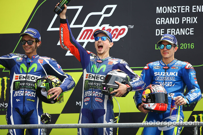 1. Jorge Lorenzo, 2. Valentino Rossi, 3. Maverick Vinales