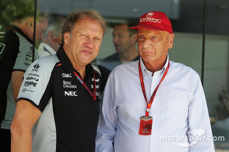 (L to R): Robert Fernley, Sahara Force India F1 Team Deputy Team Principal with Niki Lauda, Mercedes Non-Executive Chairman