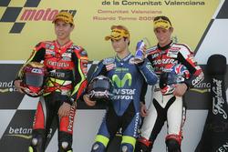 Podium: Race winner Dani Pedrosa; second place Jorge Lorenzo; third place Casey Stoner