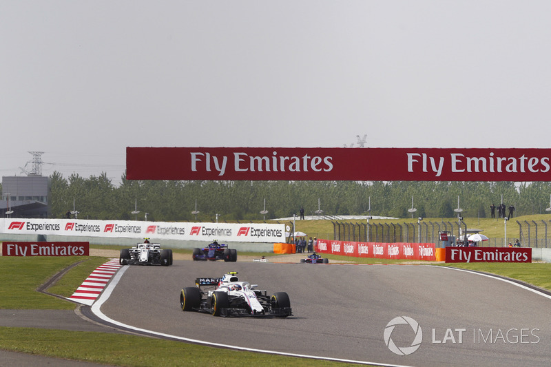 Sergey Sirotkin, Williams FW41 Mercedes, Charles Leclerc, Sauber C37 Ferrari, e Brendon Hartley, Toro Rosso STR13 Honda