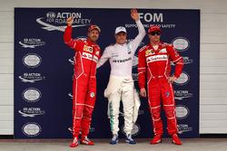 Qualifying Top 3: polesitter Valtteri Bottas, Mercedes AMG F1, second place Sebastian Vettel, Ferrari, third place Kimi Raikkonen, Ferrari