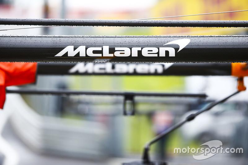 McLaren branding on the team's pit equipment