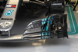 Front wing detail of the car of Lewis Hamilton, Mercedes AMG F1 W09