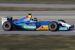 Heinz-Harald Frentzen, Sauber Petronas C22'yi ilk kez test ediyor