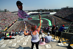 Fan in the grandstand with banner for Sergio Perez, Sahara Force India