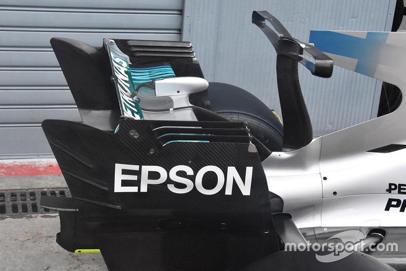 Mercedes AMG F1 W08 detalle del alerón trasero