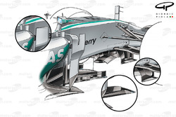 Mercedes W05 chassis details (old configurations from the first test inset)