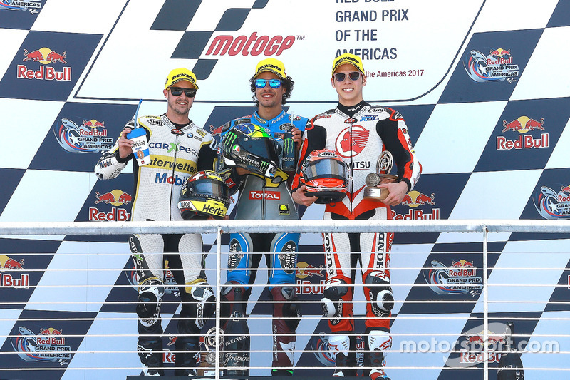 Podium: race winner Franco Morbidelli, Marc VDS, second place Thomas Luthi, CarXpert Interwetten, third place Takaaki Nakagami, Idemitsu Honda Team Asia