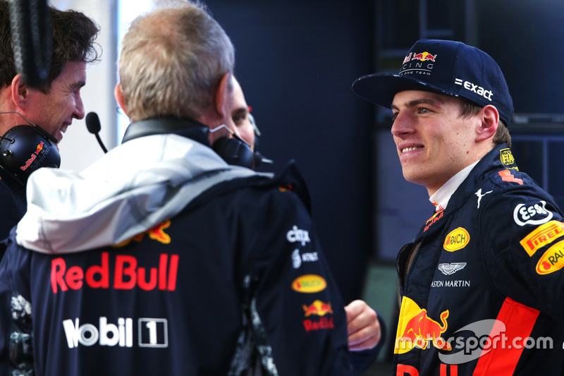 Max Verstappen, Red Bull Racing, with Red Bull Racing team members