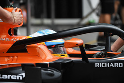 Fernando Alonso, McLaren MCL32 and halo