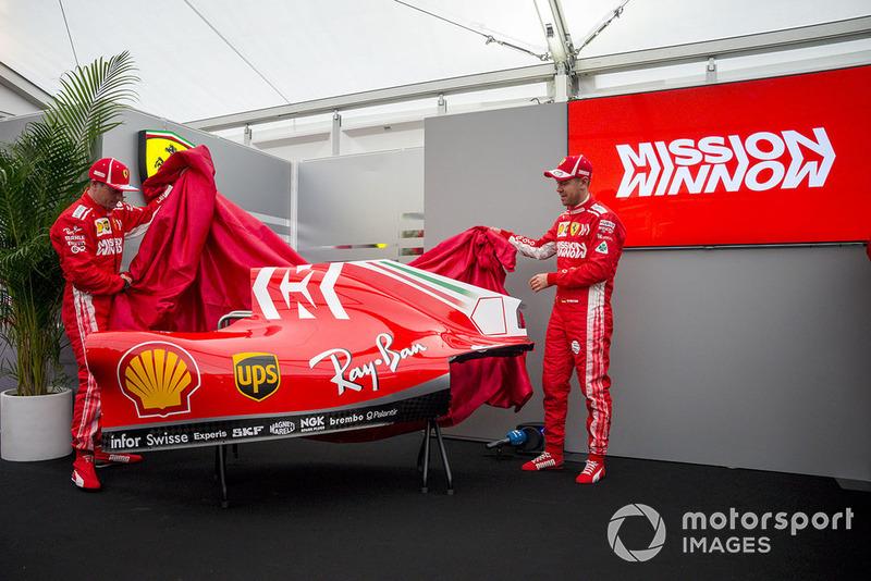 Kimi Raikkonen, Ferrari e Sebastian Vettel, Ferrari, svelano la nuova livrea della Ferrari SF71H