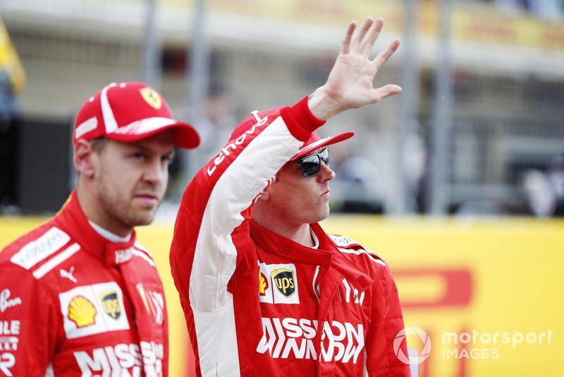 Sebastian Vettel, Ferrari, dan Kimi Raikkonen, Ferrari