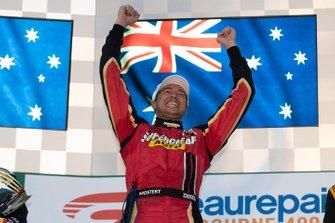 Podium: race winner Chaz Mostert, Tickford Racing Ford