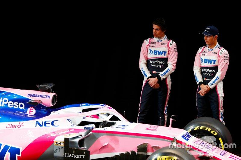 Sergio Perez, Racing Point, Lance Stroll, Racing Point alla presentazione della livrea Racng Point