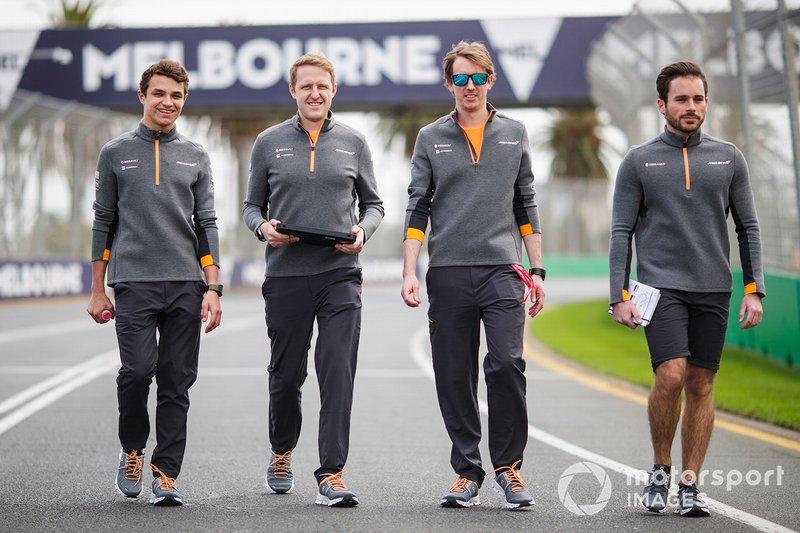 Lando Norris, McLaren, walks the track