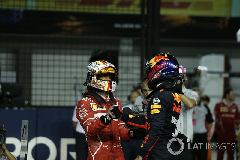Pole sitter Sebastian Vettel, Ferrari celebrates in parc ferme, Max Verstappen, Red Bull Racing