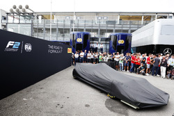 The new F2 car under its cover