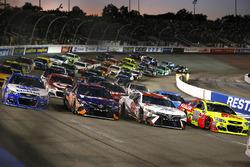 4-wide salute Dale Earnhardt Jr., Hendrick Motorsports Chevrolet, Matt Kenseth, Joe Gibbs Racing Toyota, Denny Hamlin, Joe Gibbs Racing Toyota, A.J. Allmendinger, JTG Daugherty Racing Chevrolet