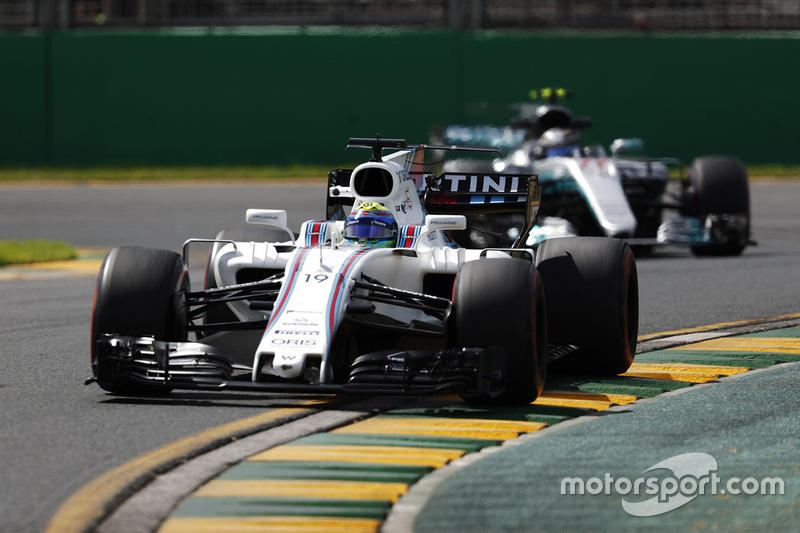 Felipe Massa, Williams FW40, leads Valtteri Bottas, Mercedes AMG F1 W08