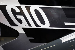 The GIO abbreviation added to the engine cover on the car of Antonio Giovinazzi, Haas F1 Team VF-17