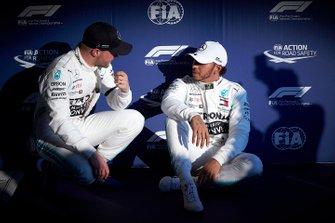 Front row starters Valtteri Bottas, Mercedes AMG F1, and pole man Lewis Hamilton, Mercedes AMG F1