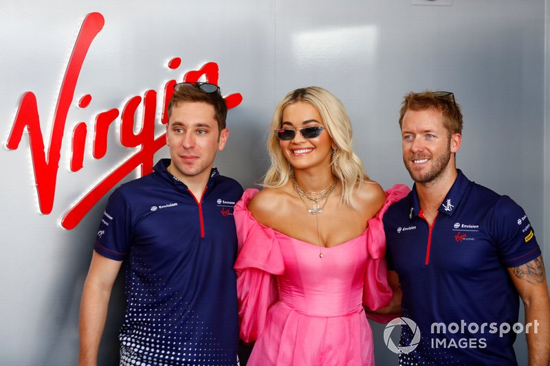 Singer Rita Ora with Robin Frijns, Envision Virgin Racing, Sam Bird, Envision Virgin Racing