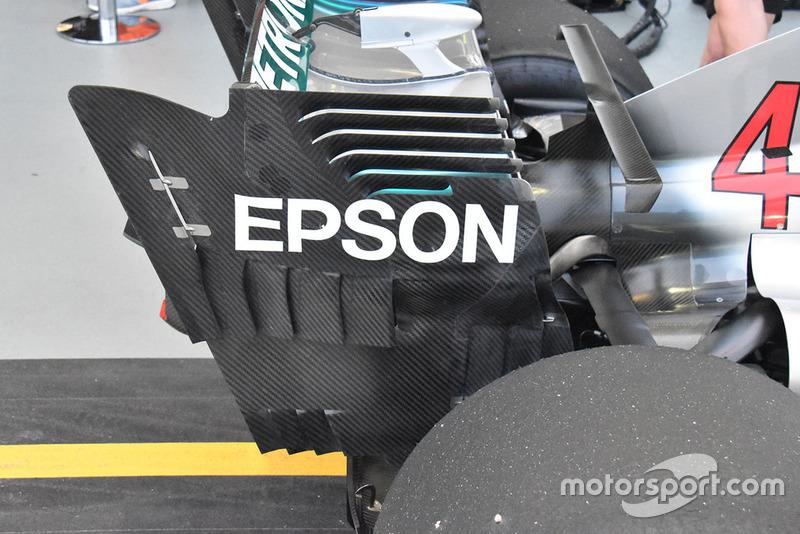 Detalle técnico del alerón trasero Mercedes AMG F1