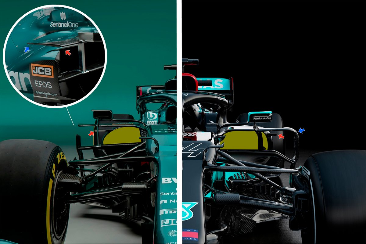 Aston Martin AMR21, Mercedes AMG F1 W12, side pods