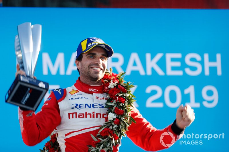 Jérôme d'Ambrosio, Mahindra Racing, celebrates on the podium after winning the race