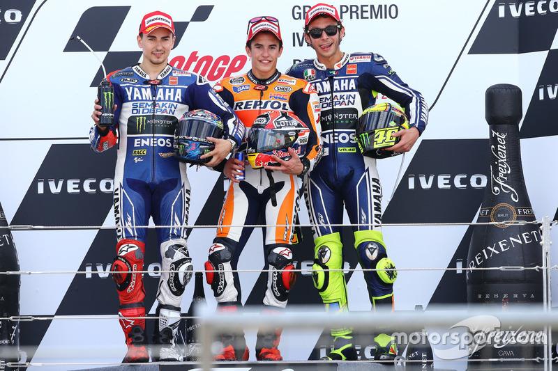 2013: 1. Marc Marquez, 2. Jorge Lorenzo, 3. Valentino Rossi