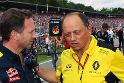 Christian Horner, Red Bull Racing, Teamchef; Frederic Vasseur, Renault Sport F1 Team, Renndirektor