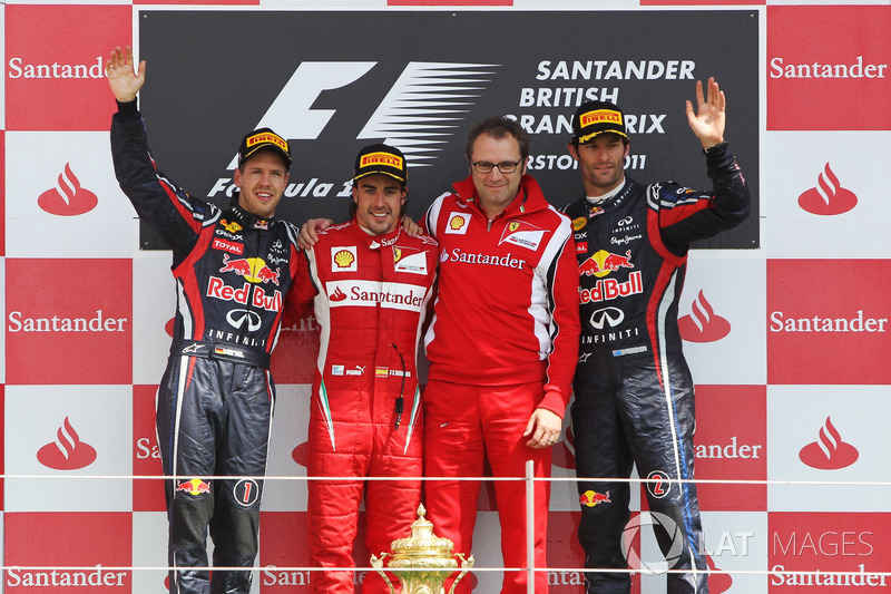 Podium: second place Sebastian Vettel, Red Bull Racing, Race winner Fernando Alonso, Ferrari, Stefano Domenicali, Ferrari General Director, third place Mark Webber, Red Bull Racing