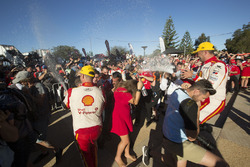 Race winner Scott McLaughlin, Team Penske Ford, second place Fabian Coulthard, Team Penske Ford celebratre with champagne