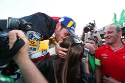 Daniel Abt, Audi Sport ABT Schaeffler, wins the Berlin ePrix, celebrates by kissing his girlfriends
