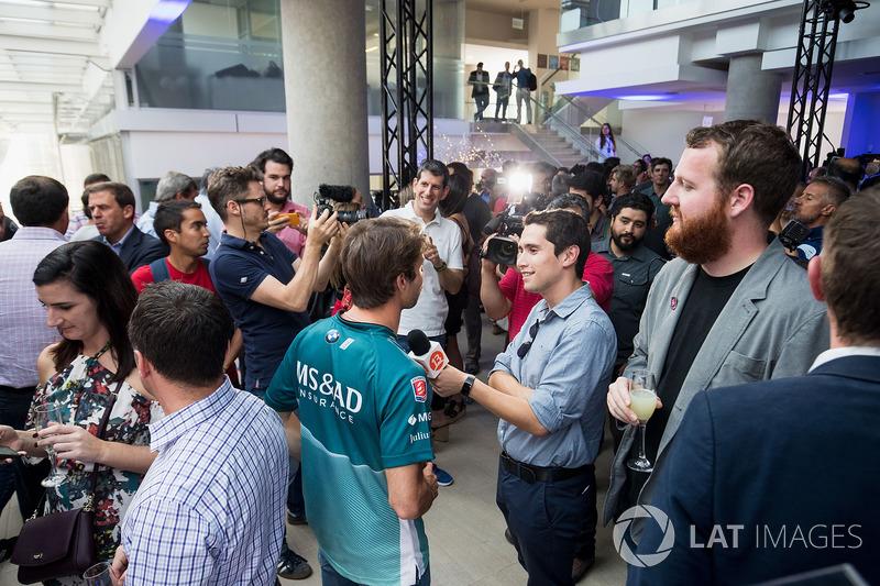 Antonio Felix da Costa, Andretti Formula E Team Team, talks to the press at the launch of the 2018 Qualcomm Safety Car