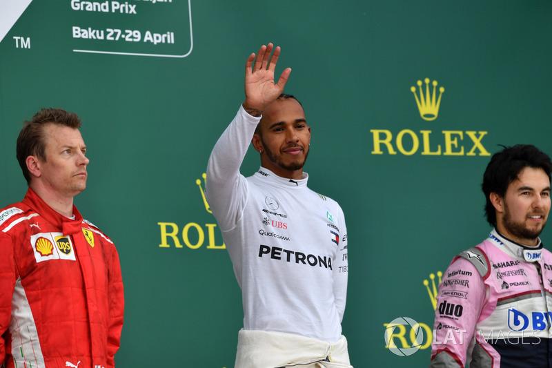 Podium: 1. Lewis Hamilton, Mercedes-AMG F1, 2. Kimi Raikkonen, Ferrari, 3. Sergio Perez, Force India