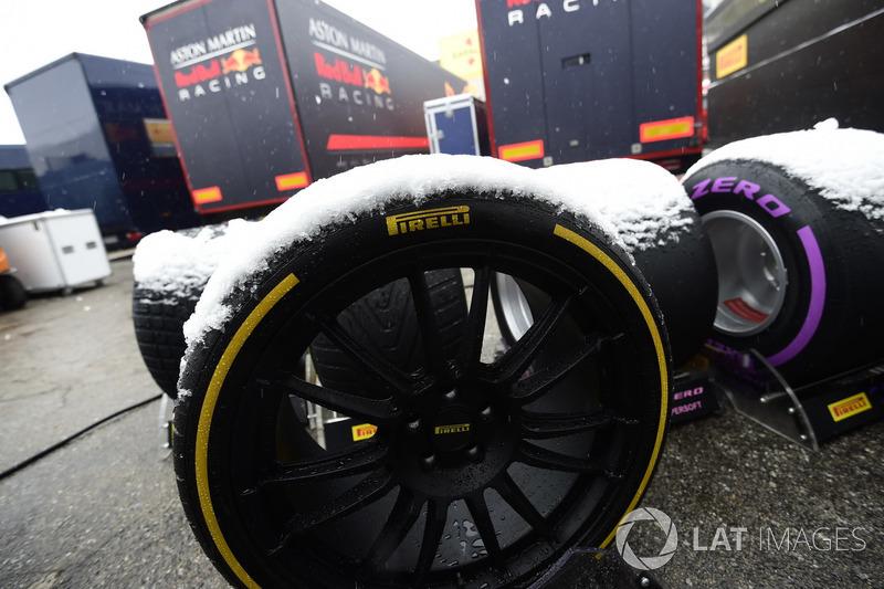 Neumáticos de Pirelli cubiertos de nieve