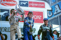 Podium: race winner Alain Prost, Renault, second place Carlos Reutemann, Williams, third place René