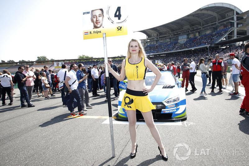 Grid girl of Robin Frijns, Audi Sport Team Abt Sportsline
