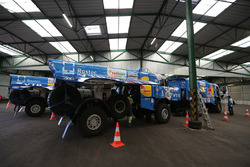 Kamaz trucks prepared in Le Havre for the long trip to Lima, Peru