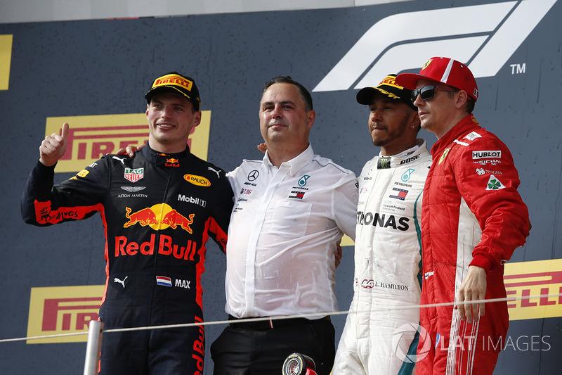 Max Verstappen, Red Bull Racing, Ron Meadows, Mercedes AMG F1 Team Manager, Lewis Hamilton, Mercedes-AMG F1 and Kimi Raikkonen, Ferrari celebrate on the podium