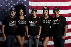 Tony Kanaan, Felipe Massa, Juan Pablo Montoya con las chicas ROC
