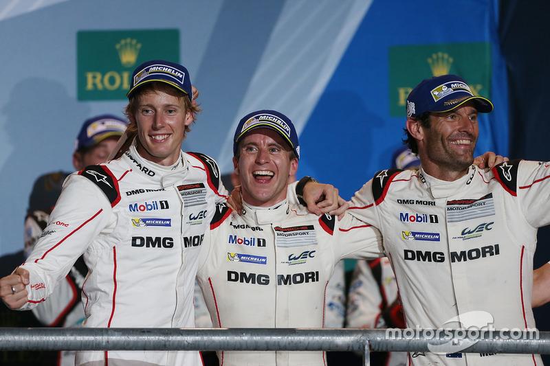 Podium: race winners Timo Bernhard, Mark Webber, Brendon Hartley, Porsche Team