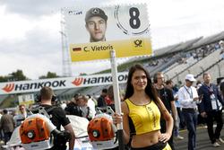 Grid girl of Christian Vietoris Mercedes-AMG Team Mücke, Mercedes-AMG C63 DTM