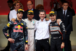 Lewis Hamilton, Mercedes AMG F1 celebrates his win at the podium with Daniel Ricciardo, Red Bull Racing and Sergio Perez, Force India