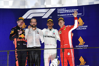 (L to R): Max Verstappen, Red Bull Racing, Lewis Hamilton, Mercedes AMG F1 and Sebastian Vettel, Ferrari celebrate on the podium