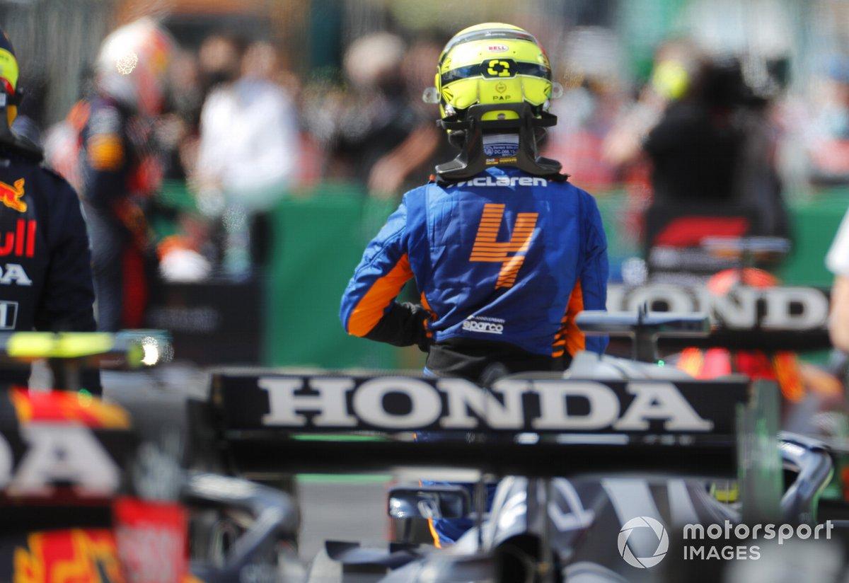 Lando Norris, McLaren, in Parc Ferme