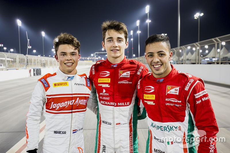 Polesitter Charles Leclerc, PREMA Racing, second place Antonio Fuoco, PREMA Racing, third place Nyck