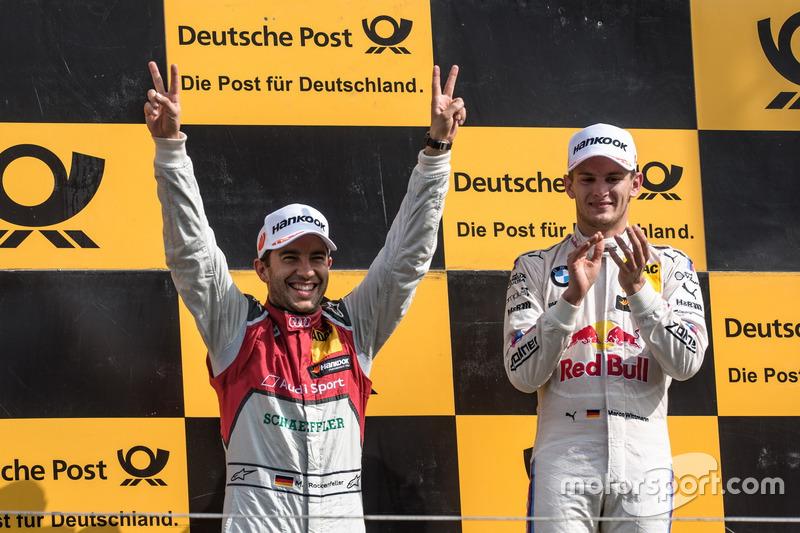 Marco Wittmann (à direita) venceu a segunda corrida, mas foi desclassificado. Mike Rockenfeller herdou o triunfo, configurando assim o 1-2-3-4 da Audi na Holanda.